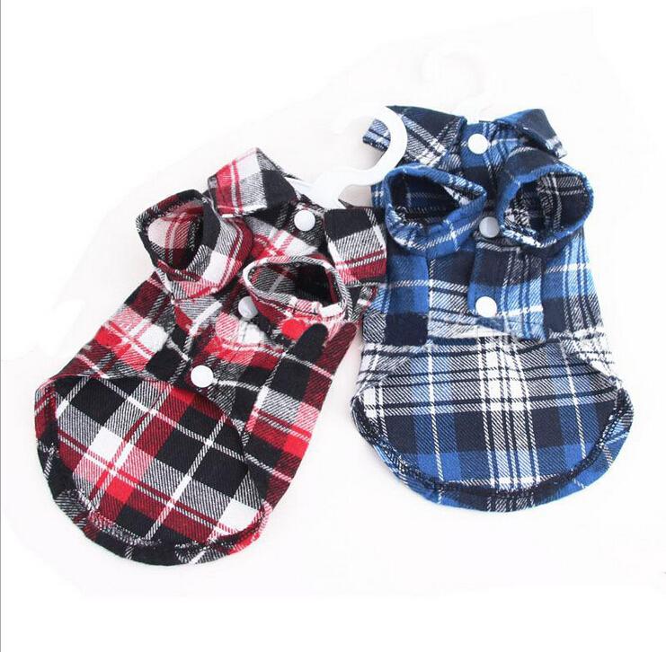 Щенок домашнее животное собака Cat костюмы сетка проверки собаки рубашка топы одежда пальто одежда платье XS S M L xl, Чихуахуа одежда для собаки