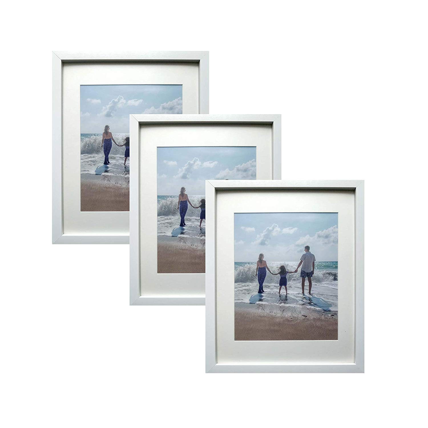 Amoy Art 3 Pack, 11x14 White Picture Photo Frames - Made to Display Pictures Photo 8x10 with Mat or 11x14 Without Mat Wall & Tabletop Frames