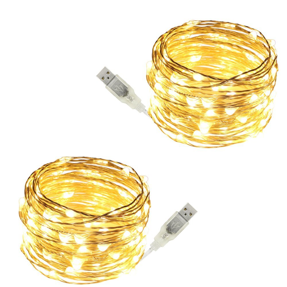 USB Led String Lights,ER CHEN(TM) 100 Leds 33Ft Waterproof Silver Wire String lights for Bedroom, Patio, Party, Wedding, Christmas Decorative Lights(Warm White,2-Pack)