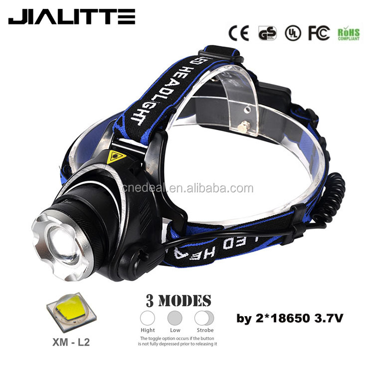 Jialitte Adjustable Zoomable Waterproof Rechargeable High Power 2000 Lumen XML L2 Led Headlamp for Camping H001