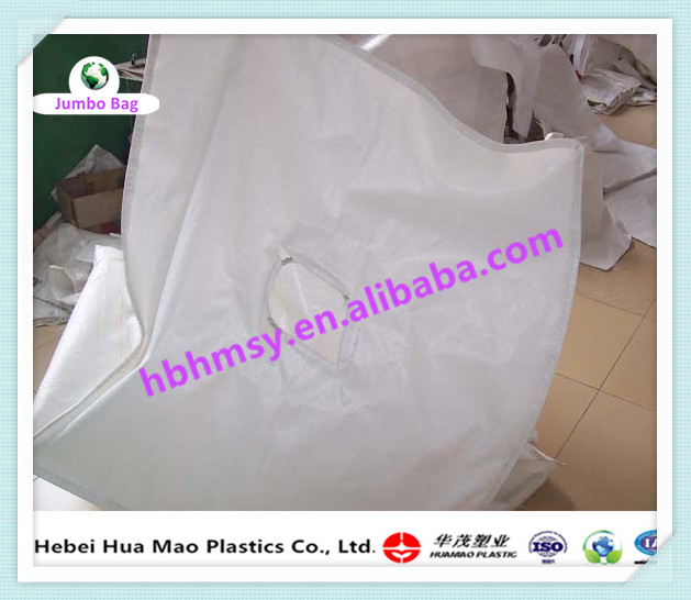 Spout Top Flat Bottom Polypropylene 1 Ton Jumbo Big Bag Gypsum Ore Bag For Storage With UV Resistant
