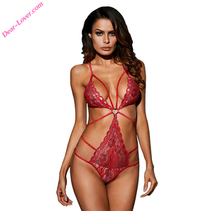Hot Sale Red Heart Lace Strappy Valentine Teddy Bear LIngerie