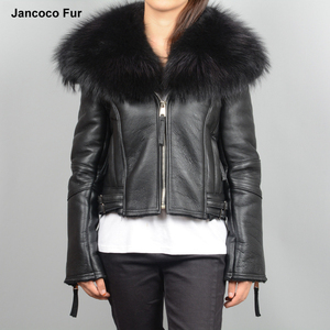 Genuine Leather Coat Women's Real Lined Large Raccoon Fur Collar Fashion Cropped Jackets 2018 New Arrival