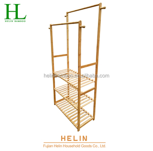 Durable Free Standing Bamboo Towel Rack
