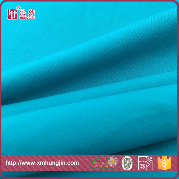 Polyamide spandex blue circular knitted fabric for swimwear / active wear