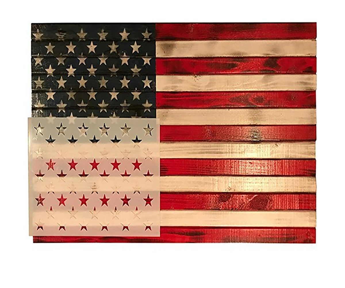 Stencil Template,DIY 50 Star American Flag Reusable Stencil or Painting on Wood, Fabric, Wall, Airbrush Crafts Templates,10.5inch x 15inch (Pack of 1)