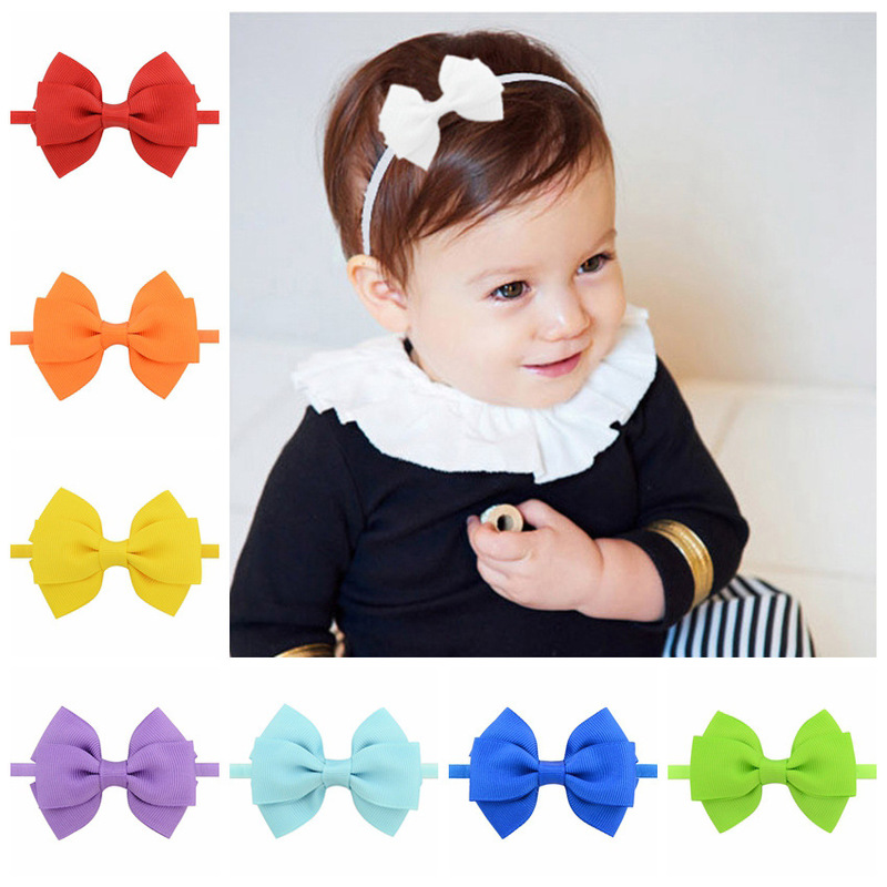 Fancy solid colors grosgrain ribbon bowknot kids headwear ornaments make baby elastic hair bands for girls