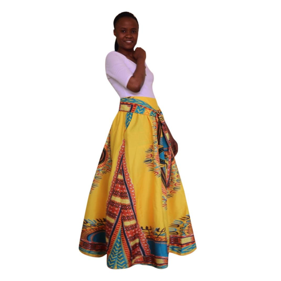Joint 2018 Fashion Women African Print Dashiki Dress Chiffon High Waist Party Boho Ankara Maxi Long A-Line Skirt