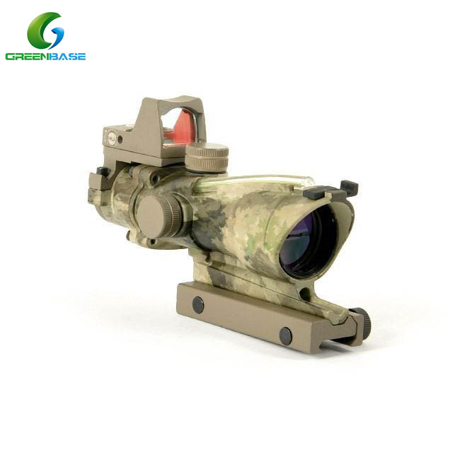 Greenbase Tactical Riflescope ACOG Style 4X32 Green Fiber Source Air Rifle Scope Combo RMR Red Dot Sight