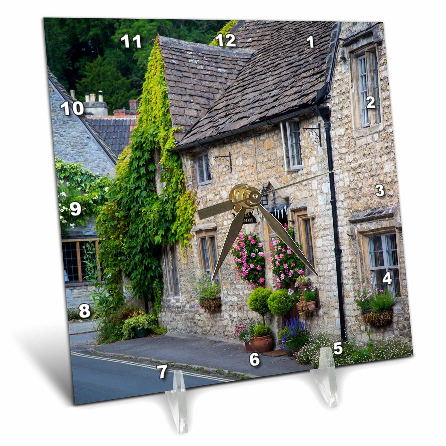 Danita Delimont - Houses - High Street, Castle Combe, the Cotswolds, Wiltshire, England - 6x6 Desk Clock (dc_228052_1)
