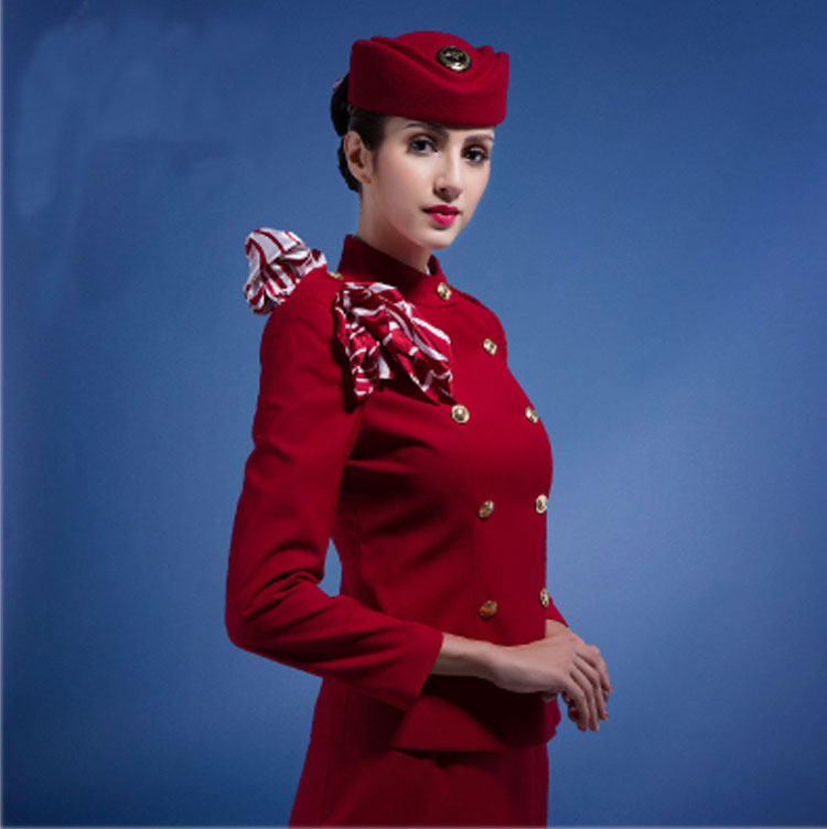 Fashion Dress Red Cabin Crew Air Hostess Stewardess