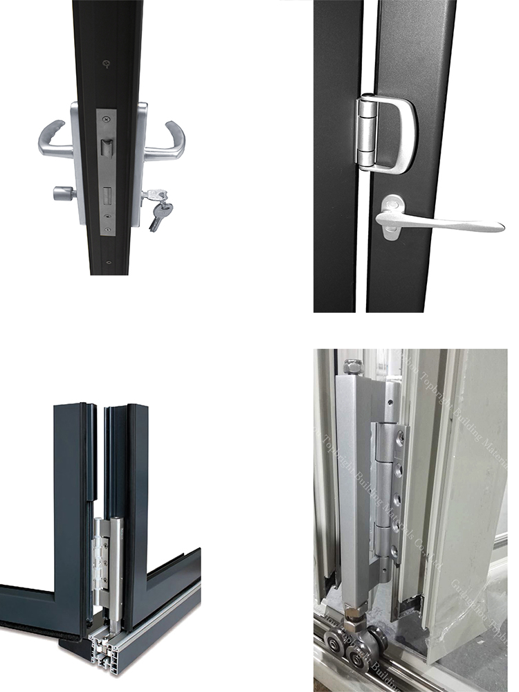 Folding Patio Exterior Glass Doors Hardware Bi Folding