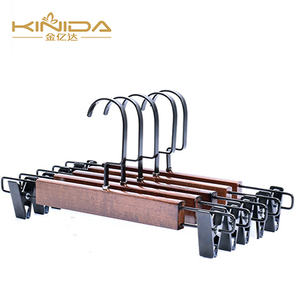 Fancy cheap white Lady sexy skirt display wooden clothes hangers with antiskid rod