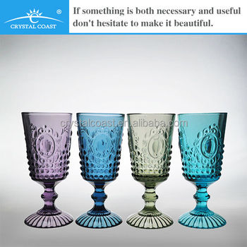 Cheap antique beautiful decorative blue green smoky solid for Decorative wine glasses cheap