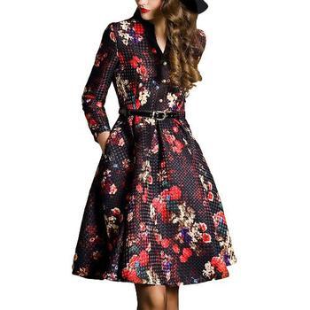 13b574f44 Novas Mulheres Da Moda Midi Vestido Floral Botão de Impressão Frente V Neck Manga  Longa Cinto