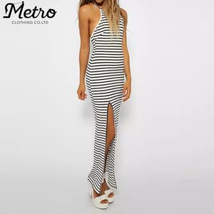 Wholesale cotton stripe long sleeveless maxi dress Side split up fashion