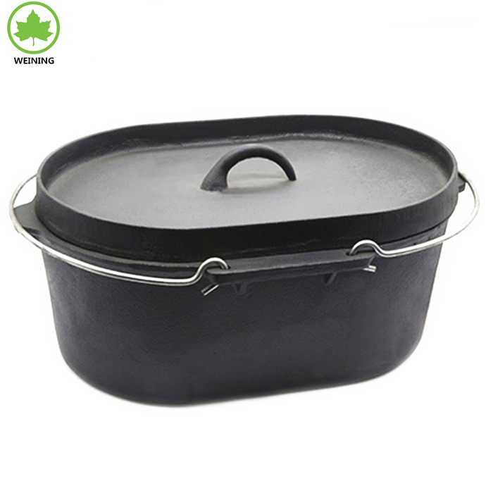 Best Price No Stick Oval Dutch Oven Cast Iron Camp Cooking Pot