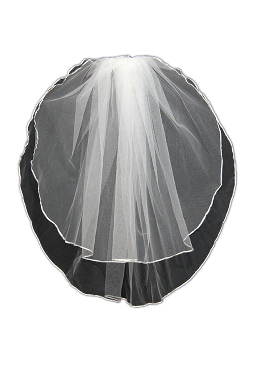MLT 2 Layers White Ivory Bridal Veils Elbow Length Satin Edge