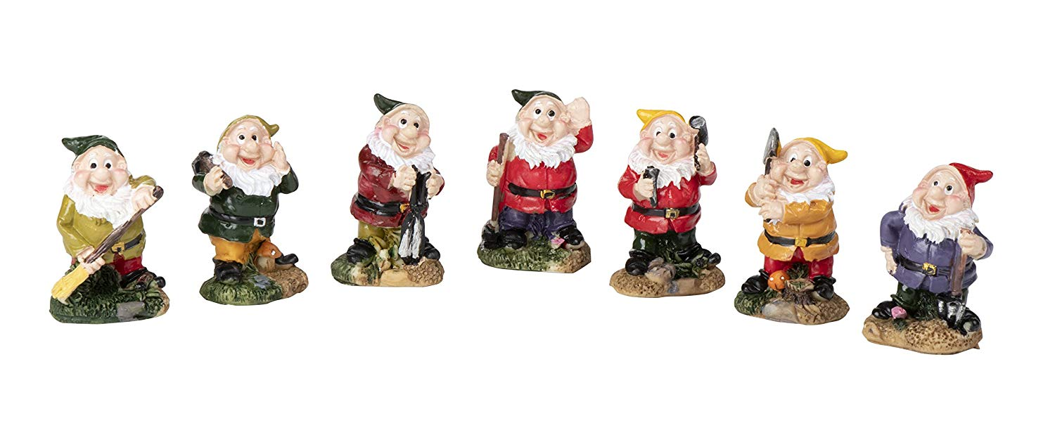 Juvale Set of 7 Mini Gnome Figures - Fairy Garden Gnomes - Gnome Figurines, Assorted Colors, 1.5 x 2.4 x 1.5 inches