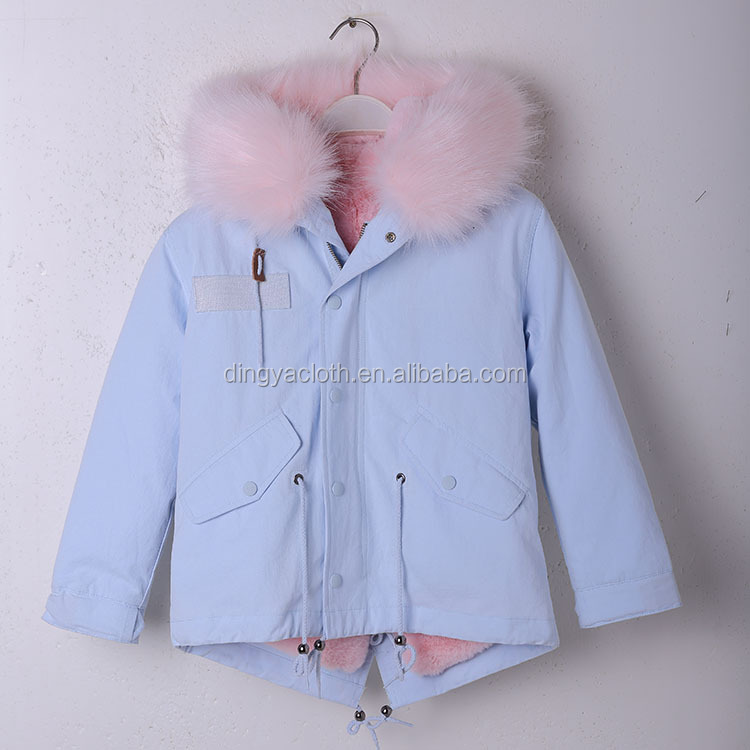 High Quality Ghildren Coat Faux fur Lined children Parka Coat Jacket Hooded Coat