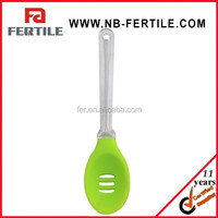 LY 110587 New Design distributor silicone rubber spoon/FDA mini silicone spatula spoon/slotted spatula spoon