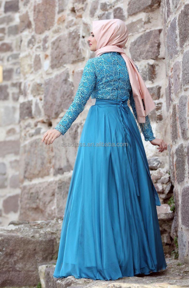 Ate17 Empire Elegant Abaya Top Design Kaftan Blue Beaded Long Sleeve ...