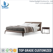 Wood timber frame style bed room linen upholstered wing mattress bed