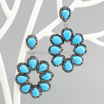 Ls D6866 Cantik Bunga Warna Hijau Turquoise Pendant Earring Hema Pave Anting Perhiasan