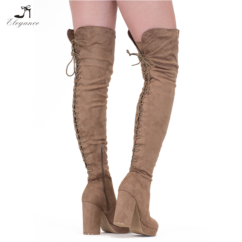 Thigh Wrapped Women Tall Boots Boots 2018 Vegan Platform Low Back