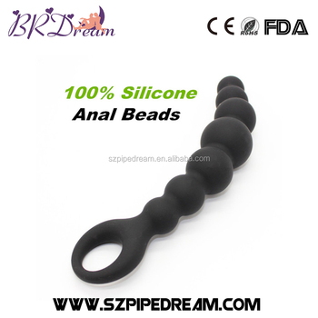 52ad8453f Black Silicone Anal Beads Flexible Butt Plugs Unisex Anal Balls 7    Waterproof