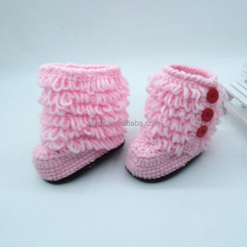 Pink Infant Baby Girl Boy Crochet Knitted Boots Shoes Costume Photo