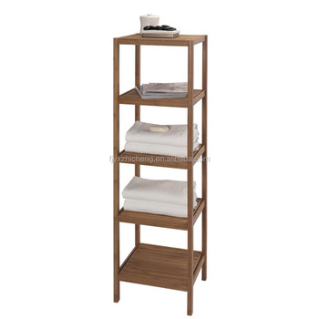 100% Natural Bamboo Bathroom Tower 5-shelf Towel Storage Rack ...