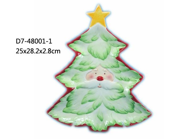 Ceramic santa tree shape plate for 2015