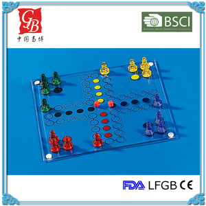 7.5'' glass ludo game set ludo chess game size 20*20cm