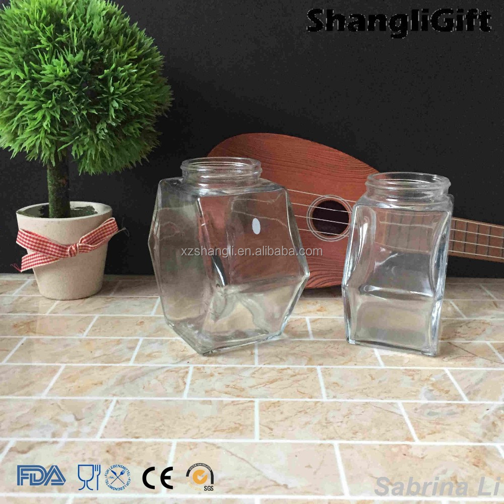 six coners shape 14 oz 10 oz glass jar for honey with threads lid