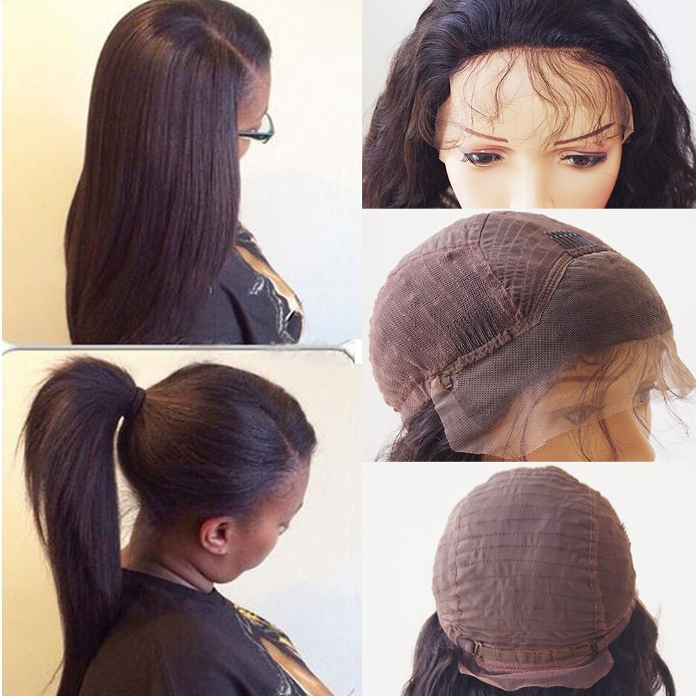 10''-22'' Glueless Virgin Brazilian Human Hair Lace Front Wig with Baby Hair Long Pre-plucked Lace Front Wig Natural Hairline Straight Lace Wig +Elastic Wig Net(16'' / 16 inch,#1B Natural Black)