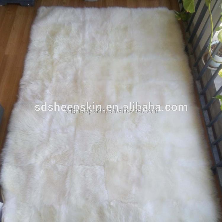 Genuine Shaggy Lamb Skin Rug Fur White Animal Wool