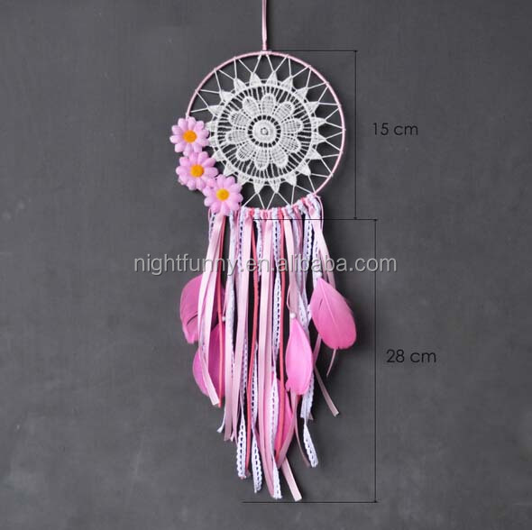 Pink Flower Large White Dream Catcher - Ribbon Fringe White Crocheted - Boho Pink Flower - Bohemian Crochet Dream Catcher