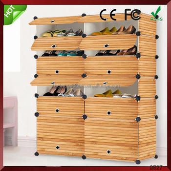 Superieur Multi Use DIY Plastic 12 Cube Shoe Rack, Shoes Cabinet Black With White Door