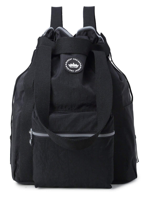 Crest Design Water Repellent Convertible Multipurpose Backpack (Large, Black)