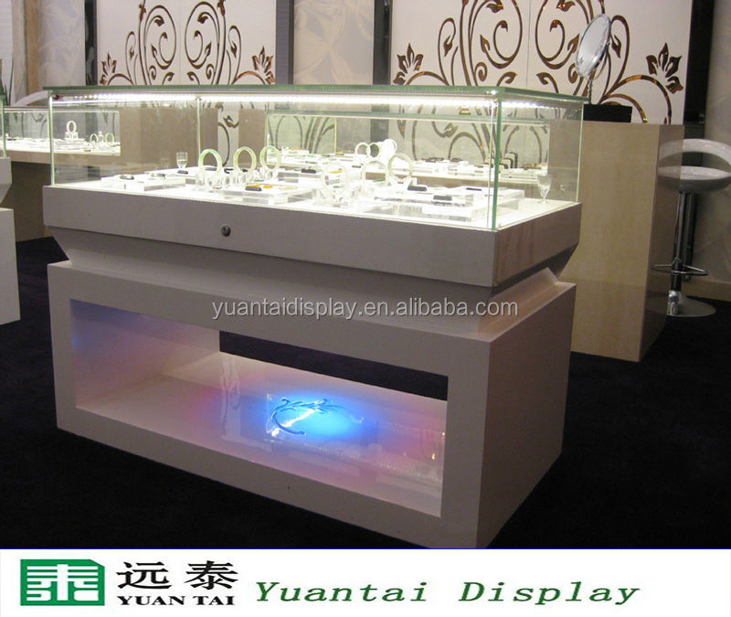 rectangle wooden mirrored jewelry display cabinet/showcase with led lighting