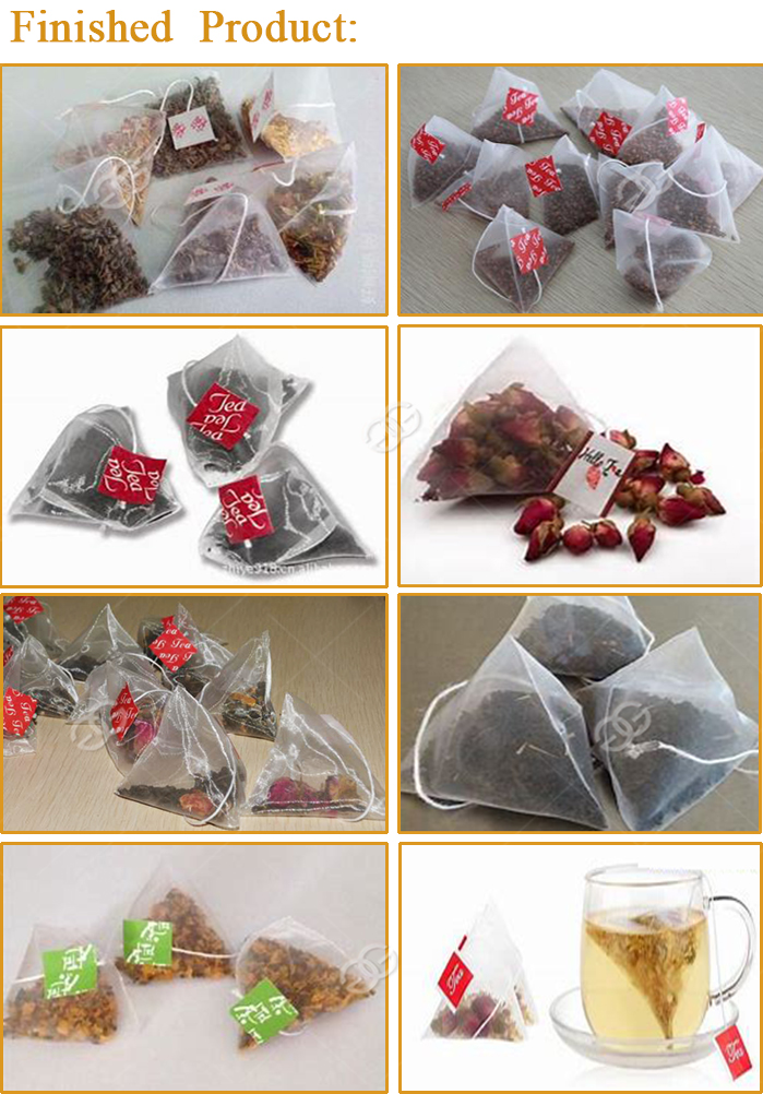 Automatic Small Sachet Packaging Machine Nylon Triangle Pyramids Tea Bag Packing Machine Finished Products 3