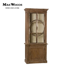 Reclaimed solid wood circle patterned tall display cabinet with 2 doors