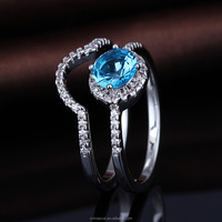 New design 925 silver gemstone finger ring with blue stone