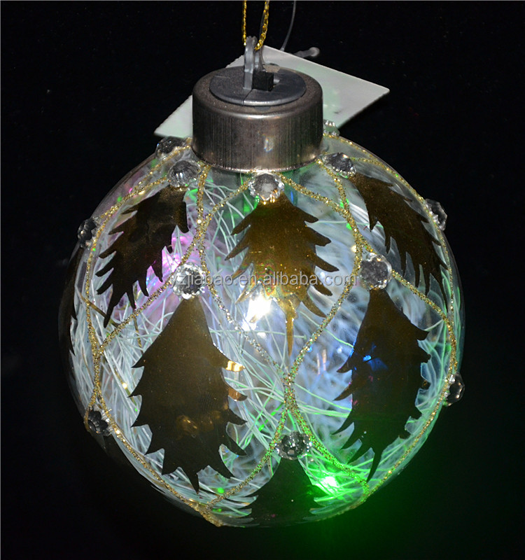 80mm transparent hand painted glass ball christmas ornaments with colorful led lights and leaves pattern from alibaba direct