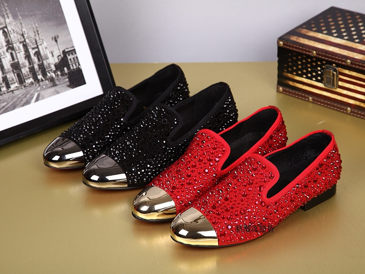 Black Shoes With Gold Studs Mens