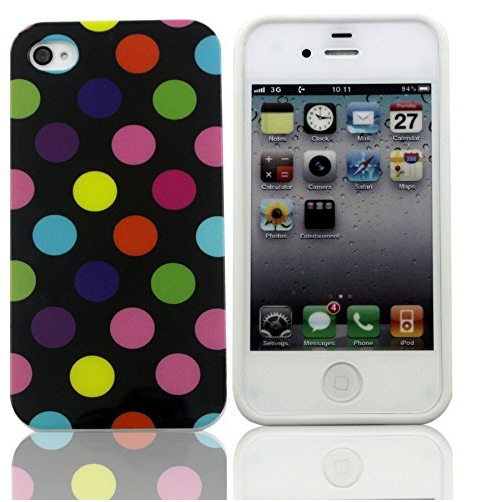 Polka Dot Pattern TPU Rubber Soft Case For <strong>Iphone</strong> 4s <strong>4g</strong>