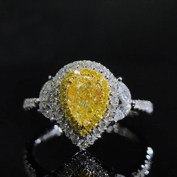 Beautiful Real Natural Brilliant Cut Yellow Diamond Ring in White Gold