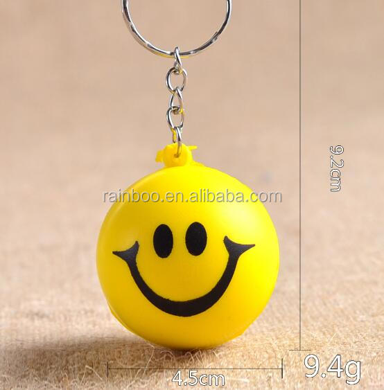 Smile face PU keychain for promotion