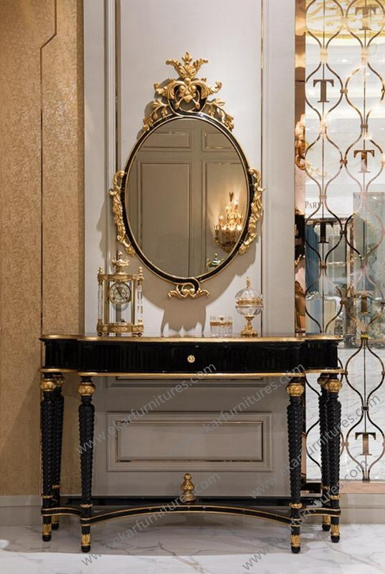 Empire style golden gilt console hallway console table and for Foyer console table and mirror set